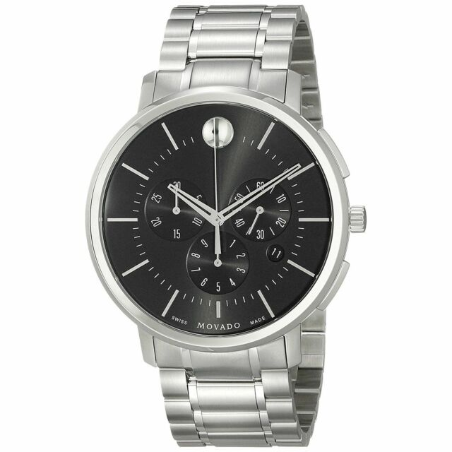 3d3328bb4 Movado Ultra-thin Chronograph Black Dial Stainless Steel Men's Watch 0606886
