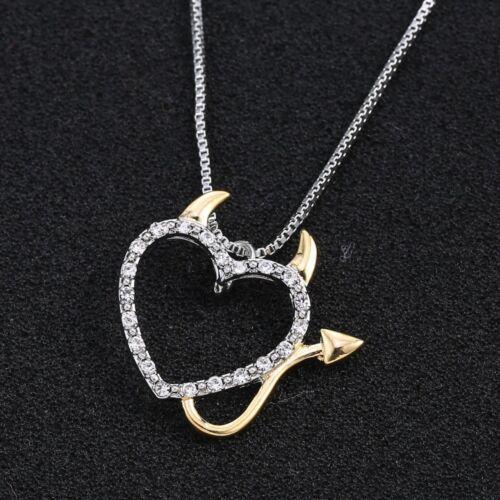 Collana ciondolo pendente Devil Heart+catena catenina cuore diavoletto regalo