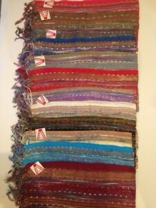 WHOLESALE JOBLOT 12 PCS STRIPS LUREX SCARVE SHAWL PASHMINA GIFT FLOWER PAISLEY