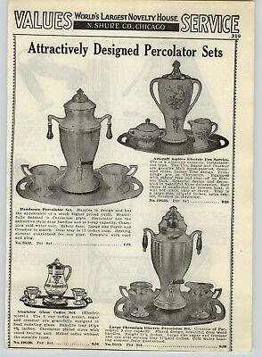 1934 paper ad porcelain electric porcelier percolator hand painted coffee set ebay. Black Bedroom Furniture Sets. Home Design Ideas