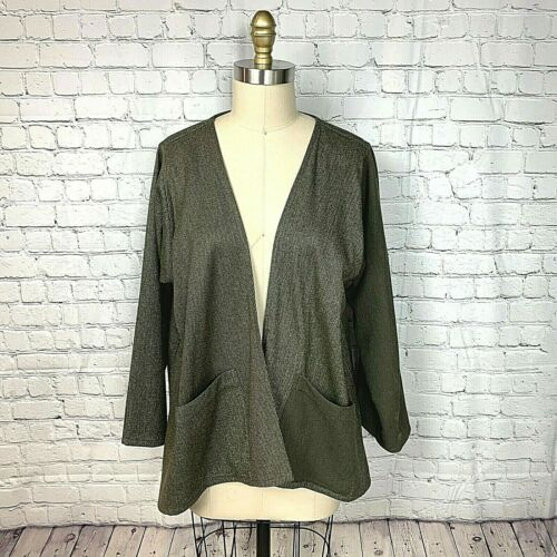 Japanalia Womens Cardigan Duster USA Green Kimono