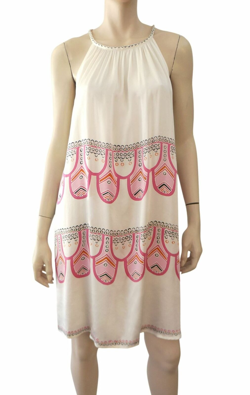 ELISSA COLEMAN Ivory Pink Pink Pink Sleeveless Silk Print Dress L 223357