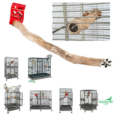 **New** Java Wood Fitted Cage Branch Perch Budgie Cockatiel Parrot Various Sizes