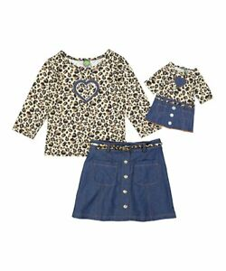 """Girl 4-14 and 18"""" Doll Matching Tan Brown Top Navy Skirt Outfit ft American Girl"""