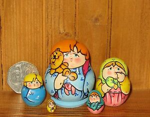 Nesting-Russian-Doll-Matryoshka-tiny-BOY-amp-Teddy-Bear-MINI-family-5-LATISHEVA