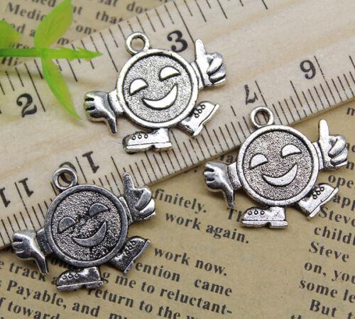 10~30pcs Jewelry Making Smile Sad Face Robot Alloy Charm pendant 23x19mm