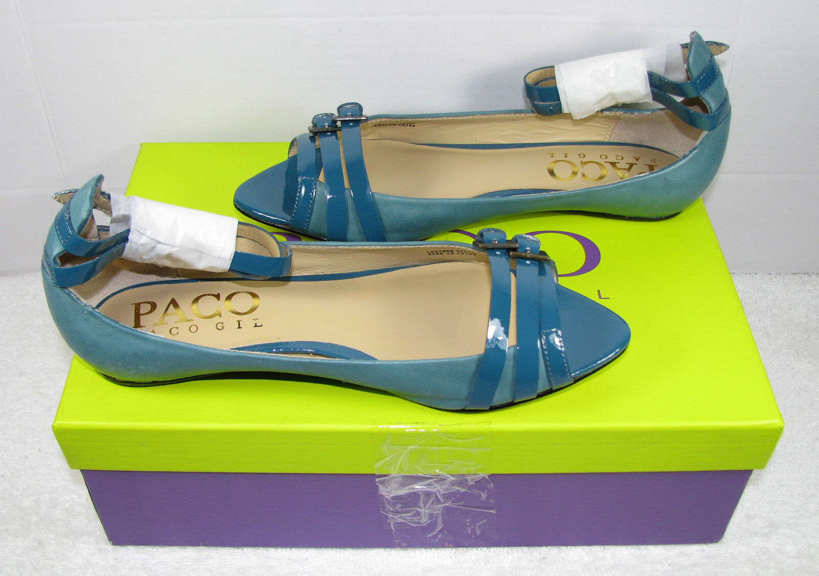 PACO GIL SOLD THRU VICTORIAS SECRET STRAPPY PEEP TOE FLAT LEATHER TEAL bleu  5.5