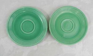 2-Vintage-Homer-Laughlin-Fiestaware-Saucers-Original-Green-6-034
