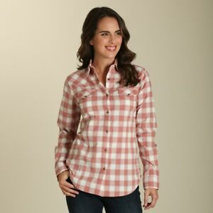 24a9788c Details about Wrangler Women's Dark Pink & White Plaid Snap Up Western  Shirt LW7213M