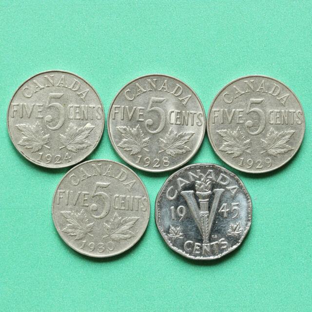 1924 - 1928 - 1929 - 1930 - 1945 - Canada 5  5 Cents SNo36986