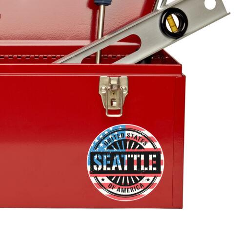 2 x 10cm Seattle Washington USA Vinyl Sticker iPad Laptop Car Travel Tag #6727