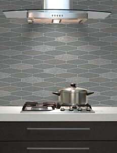 Image Is Loading Kitchen Bathroom Washable Vinyl Tile Wallpaper Charcoal Grey