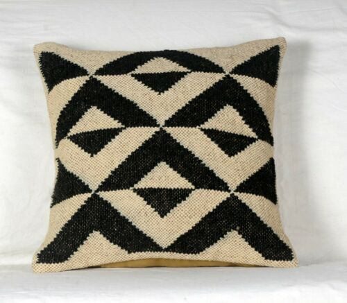 4 Set of Wool Jute Throw Indian Pillow Cover Vintage Handmade Kilim Rugs Mix-4