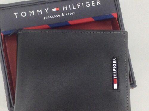$58 MSRP 10/% Men/'s TOMMY HILFIGER Black LEATHER PASSCASE BiFold Wallet