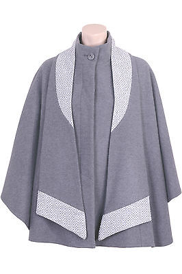 Busy Ladies Grey Wool Blend Cape with Detachable Scarf