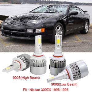 4pcs LED Headlight Kit 9005+9006 Bulb Fit Nissan 300ZX 1996-1995 Hi