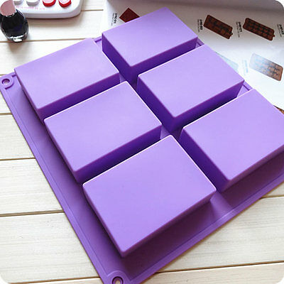 6-Cavity Plain Rectangle Soap Mold Silicone Craft DIY Making Multi Color
