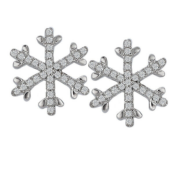 7875f3abf8af8 gold WHITE 14K SMALL NEW SNOWFLAKE EARRINGS POST DIAMOND ...