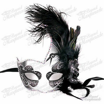 Ostrich Feather Venetian Masquerade Mask for Women M6131 [Black/Silver]