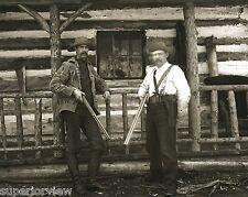 Vintage Deer Hunters Rifle & Double Barrel Shotgun Handgun Holster From Glass