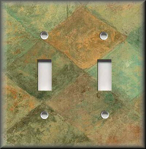 Metal Light Switch Plate Cover - Rustic Green Brown Stone Design Kitchen Decor