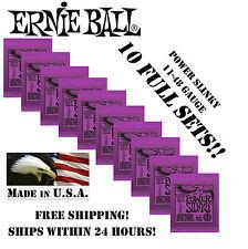 **10 PACK ERNIE BALL POWER SLINKY ELECTRIC GUITAR STRINGS 2220 (11-48 GAUGE)**