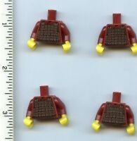 Lego X 4 Dark Red Minifig Torso Armor Plate Dark Brown With Copper Hun Warrior