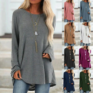 Womens-Loose-Casual-Long-Sleeve-Shirt-Blouse-Basic-Plain-Ladies-Jumper-Tee-Tops