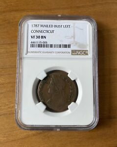 NGC-Graded-1787-Mailed-Bust-Left-Connecticut-Colonial-Copper-Cent-VF-30-BN
