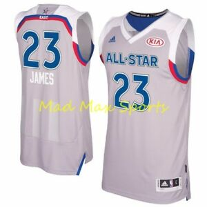 pretty nice 47ceb cca29 Details about LEBRON JAMES Adidas CAVALIERS 2017 East ALL STAR GAME Gray  SWINGMAN Jersey S-2XL
