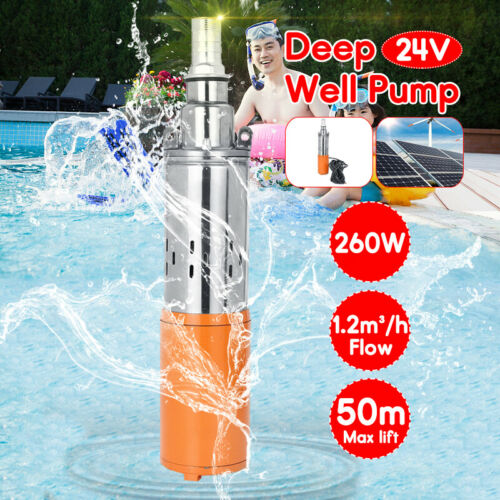 260W DC 24V 1.2M³//H 50M Max Lift Deep Well Pump Submersible Water Pump W//