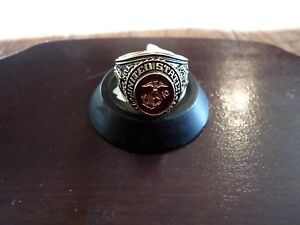 MARINE-CORPS-MILITARY-GOLD-RING-RUBY-CRYSTAL-INLAY-18K-ELECTROPLATE-MENS-SIZE-12