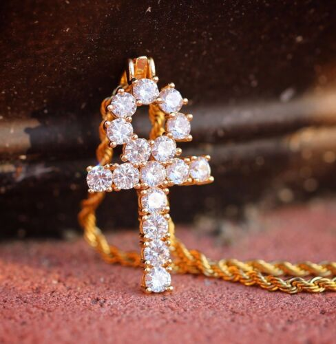 Mens Hip Hop Gold Egyptian Ankh Pendant With Rope Chain Necklace Set