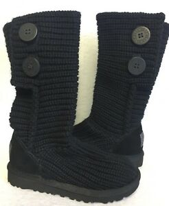 ca03c1b18a7 Details about UGG Australia Kids CLASSIC CARDY Knit Boot BLACK sizes Youth  Crochet Girls