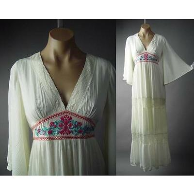Ivory Folk Embroidery Flared Sleeve Mexican Peasant Long Maxi 196 mv Dress S M L