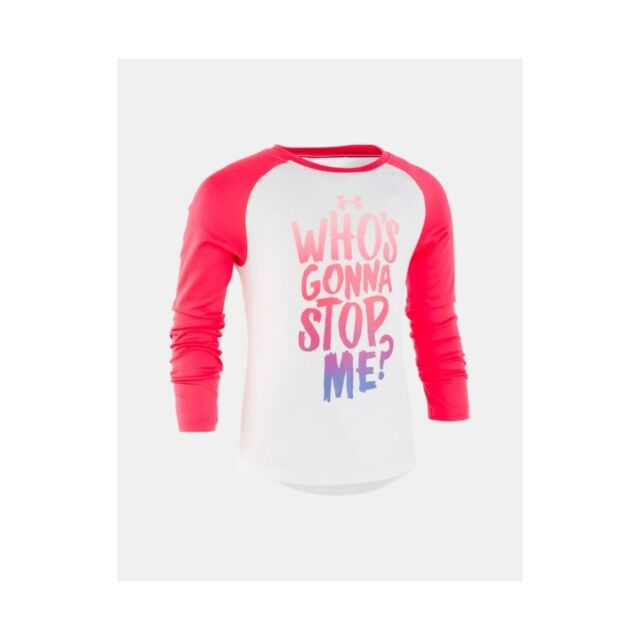 Under Armour Girls L//S White /& Pink Dry Fit Top Size 5
