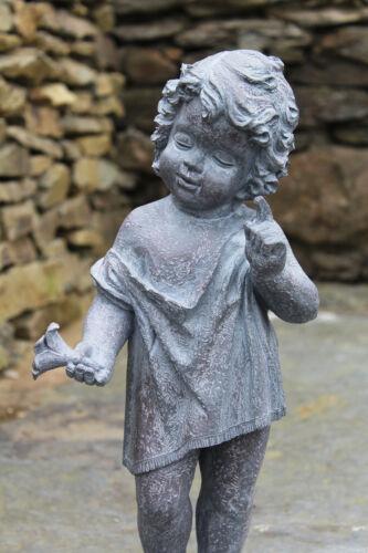 Large Cherub Garden Ornament Figure aged antique lead effect finish little boy
