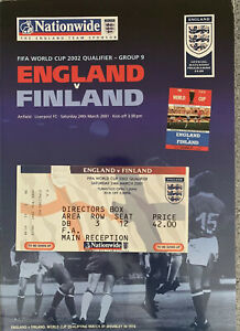 ENGLAND-V-FINLAND-FIFA-WORLD-CUP-QUALIFIER-2001-WITH-TICKET-PENNANT-TEAM-SHEET