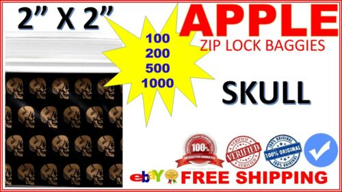 """2/"""" x 2/"""" Apple baggies 2020 mini ziplock Zipper Seal bags PRINTED DESIGN SKULL"""