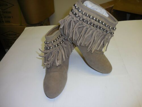 Rebels Women/'s Beaded Fringe Coral Taupe Suede Ankle Cut Boots Narrow AA,N Width