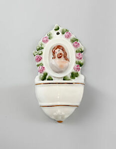9997289 Porcellana Acquasantiera Ens Cristo Testa H 12 cm B 6 cm