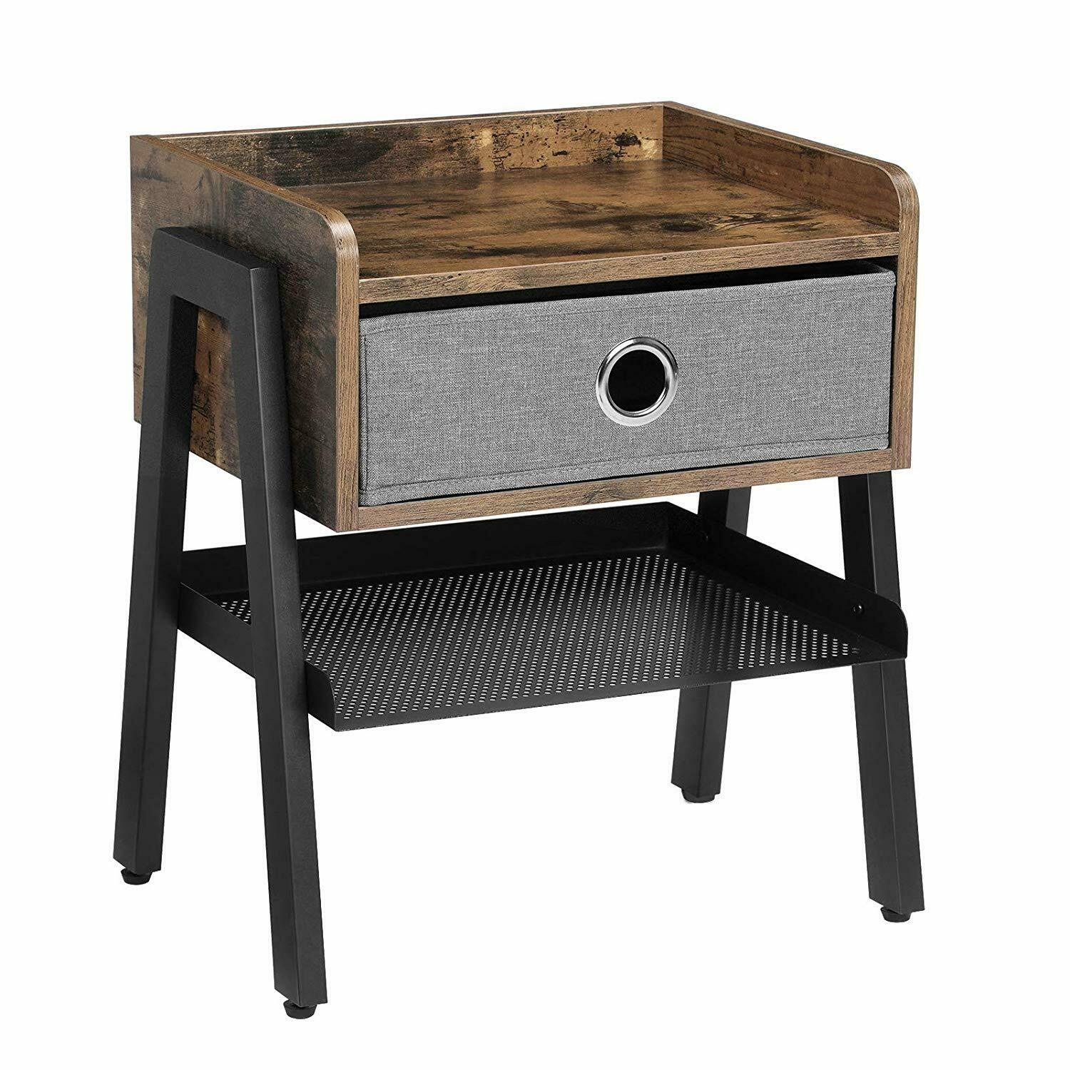 Industrial Nightstand End Table Metal Shelf Side Table Drawer Accent Wood Look