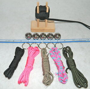 1 INCH Monkey Fist FAST 5 PAK Steel Balls, Jig, 550 Cord & Rings~ Made in USA
