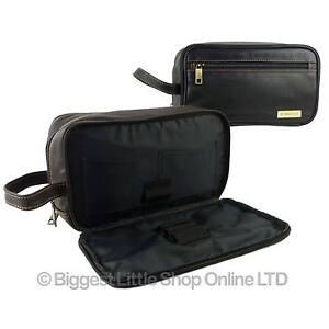 23cd18031072 NEW Mens QUALITY Leather Wash Bag by Rowallan Travel Black Brown ...
