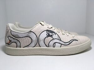 Details about Puma Clyde Snake Embroidery Pack Whipser White 368111 01 Men's Shoes Size 10.5
