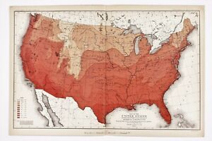 Details about 1883 United States Map Climate Minimum Temperature Texas  Florida Great Lakes