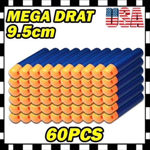 9.5cm 60PCS Refill Foam Bullet Darts Nerf N-Strike Elite Mega Centurion GUN U1