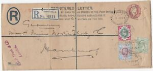 1907-POSTAL-STATIONERY-REGd-ENV-UPRATED-9d-amp-1-STAMPS-PERFIN-FREDr-HUTH-CACHET