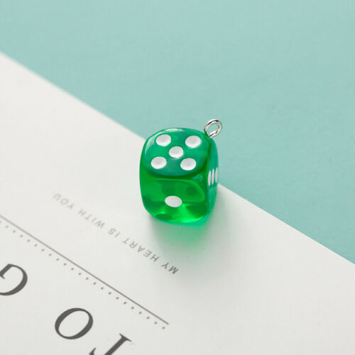 10Pc Transparent Dice Charms 14mm Miniature Figurines Resin Pendant Cabochon DIY