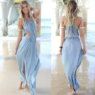 Sexy Women Summer Boho Long Maxi Evening Party Dress Beach Dresses Chiffon Dress